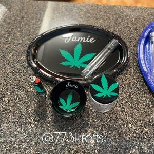 Black & Green Tray Set